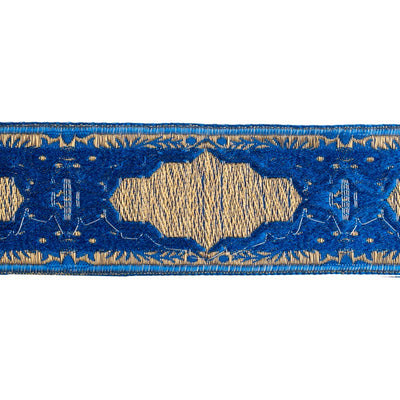 Hand cut velvet and metallic thread brocade gold on cobalt - by 1/2 yd