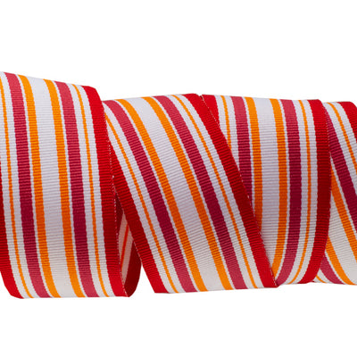 Red Orange White Striped Grosgrain