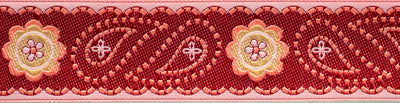 Pink/Burgundy Paisley and floral, feston border