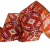 Byzantine geometric design in orange and gold - by 1/2 yd