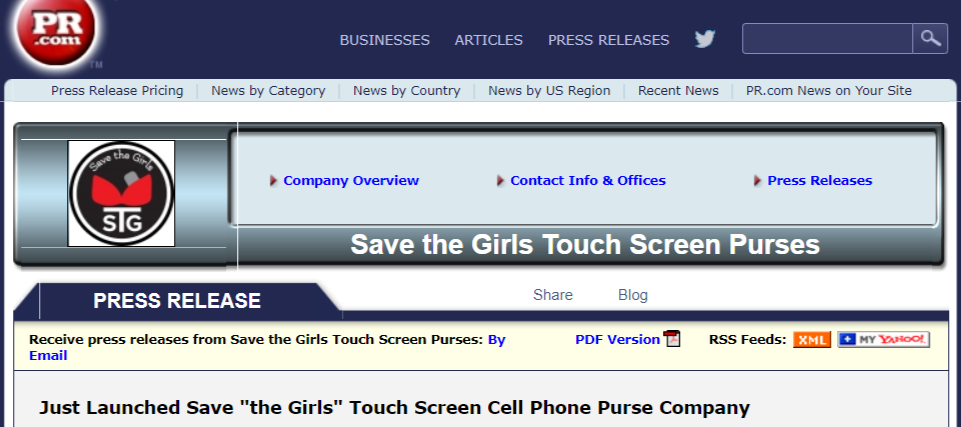"Just Launched Save ""the Girls"" Touch Screen Cell Phone Purse Company"