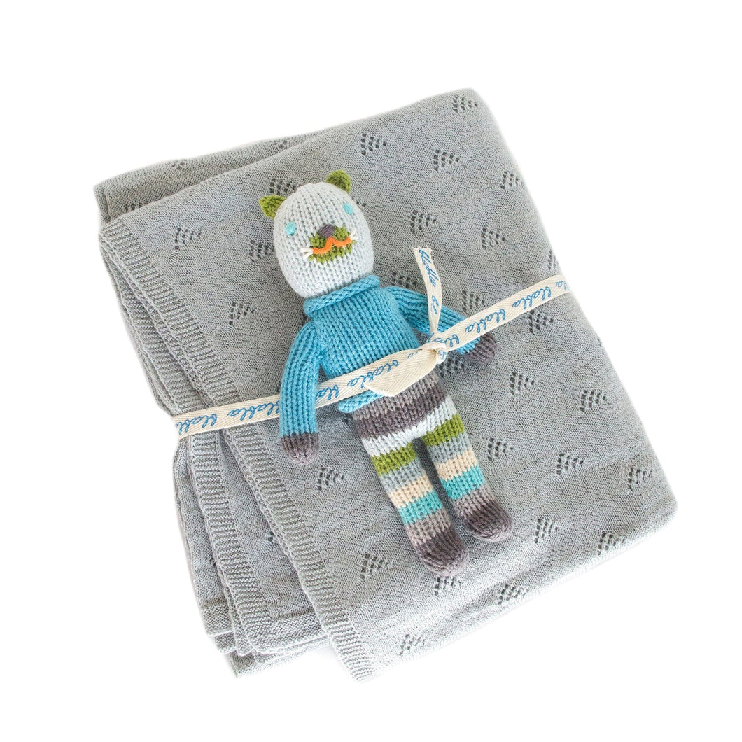 Cat Rattle & Pebble Blanket Bundle