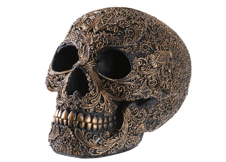 Black and Gold Carved Skull