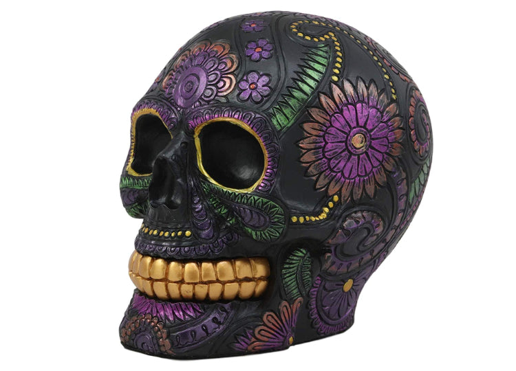 Day of the Dead Black Metallic Skull