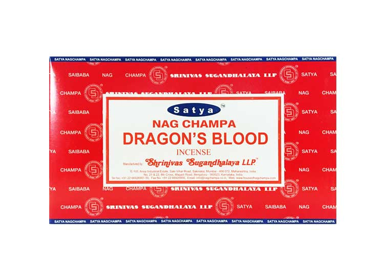 Satya Dragons Blood Incense – 180 Gram Box (x12 packs per box)