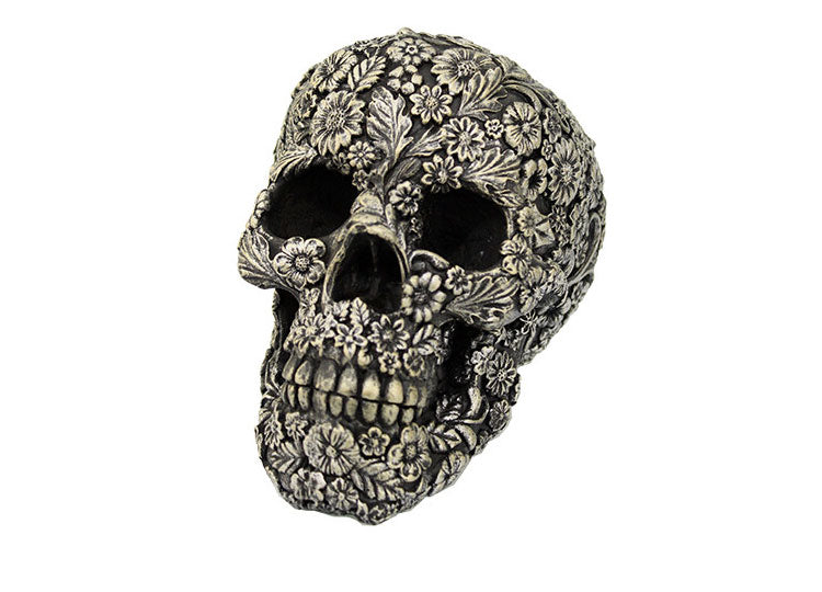 Black and Gold Floral Skull