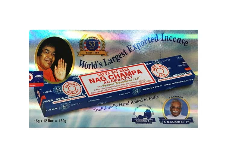 Satya Nag Champa Incense – 180 Gram Box (x12 packs per box)
