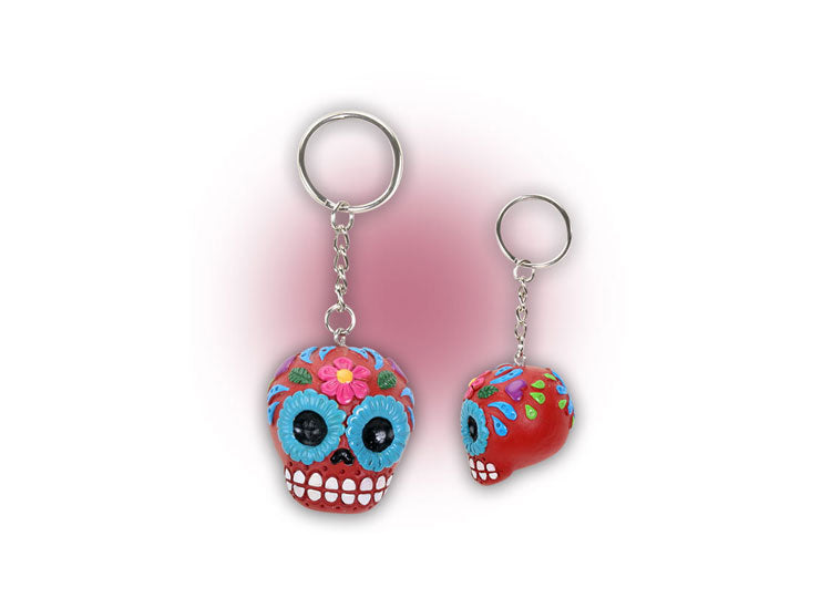 Sugar Skull Keychain - Red - Jps Bears