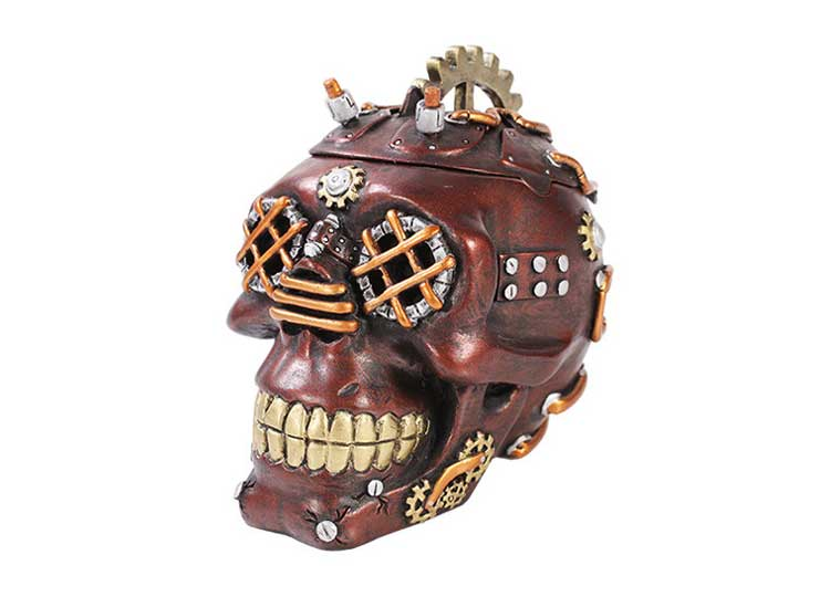 Metallic Red Steampunk Skull Box - Jps Bears