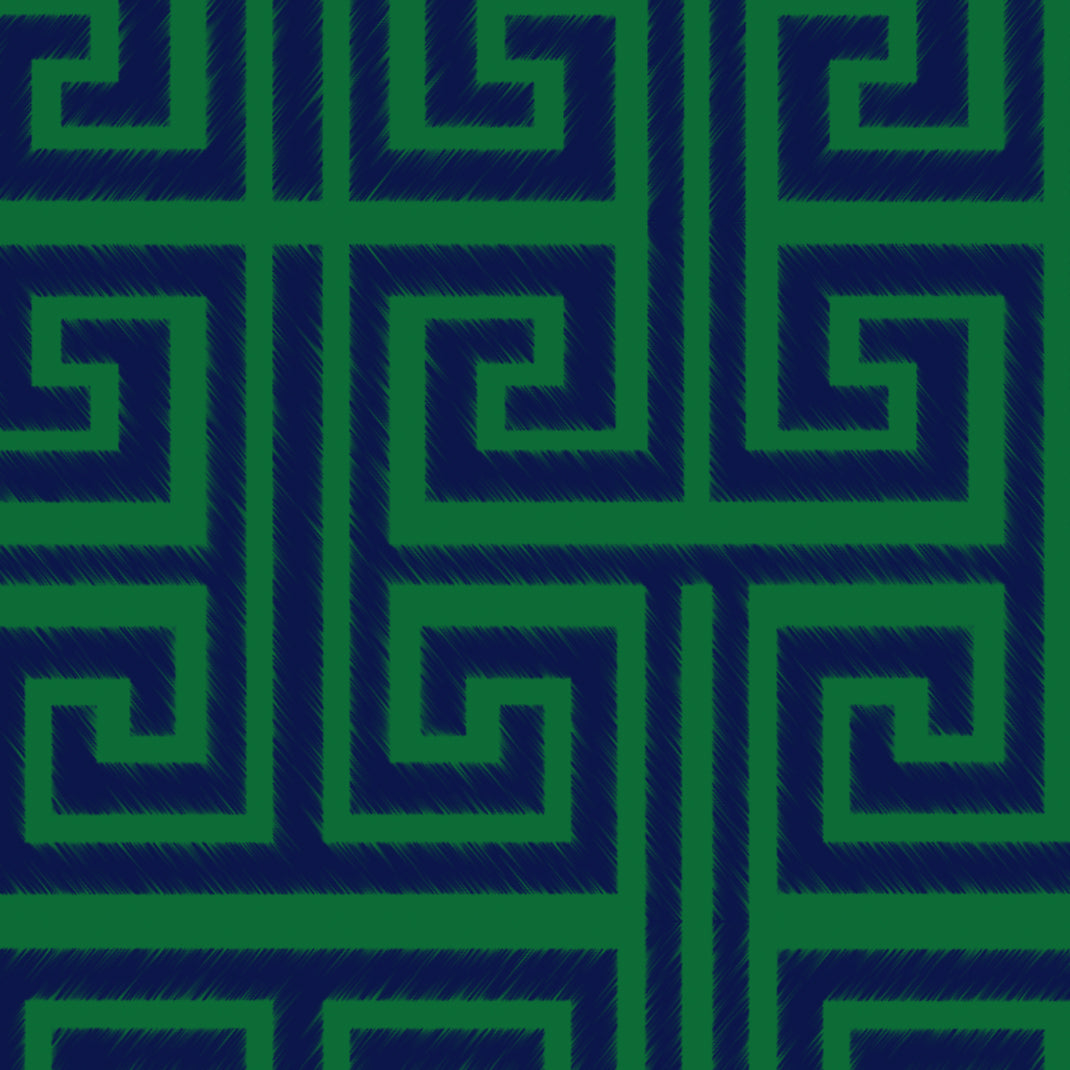 Greek Key (Emerald Blue)