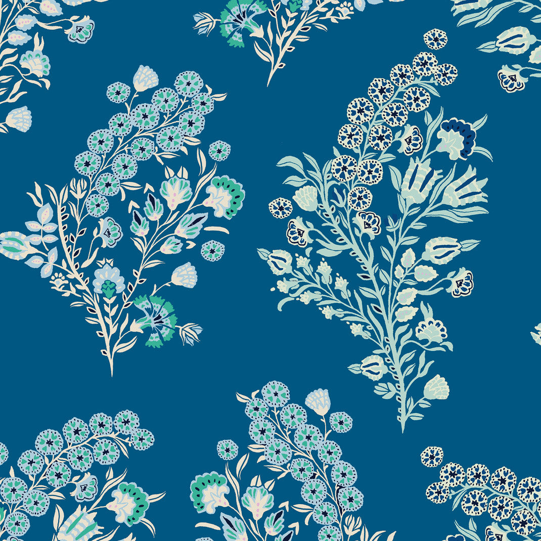 Baby Coromandel Flower Day Blue Wallpaper (10m Roll )