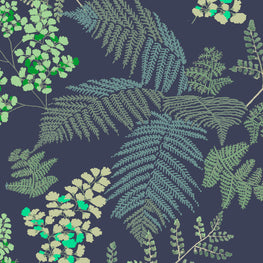 Lace Ferns Midnight Blue Wallpaper (10m Roll)