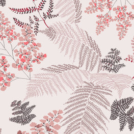 Lace Ferns Spring Rose Wallpaper (10m Roll)
