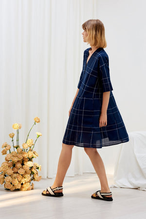 REFLECTION DRESS | NAVY CHECK