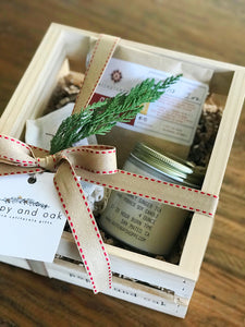 Winter Warm-up seasonal gift box skin-care tea candle cold weather