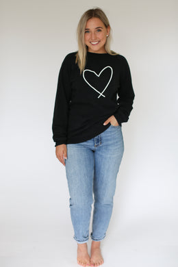 HEART || ADULT CREW BLACK