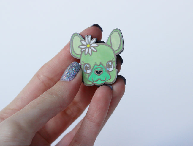Pistachio the French Bulldog Enamel Pin