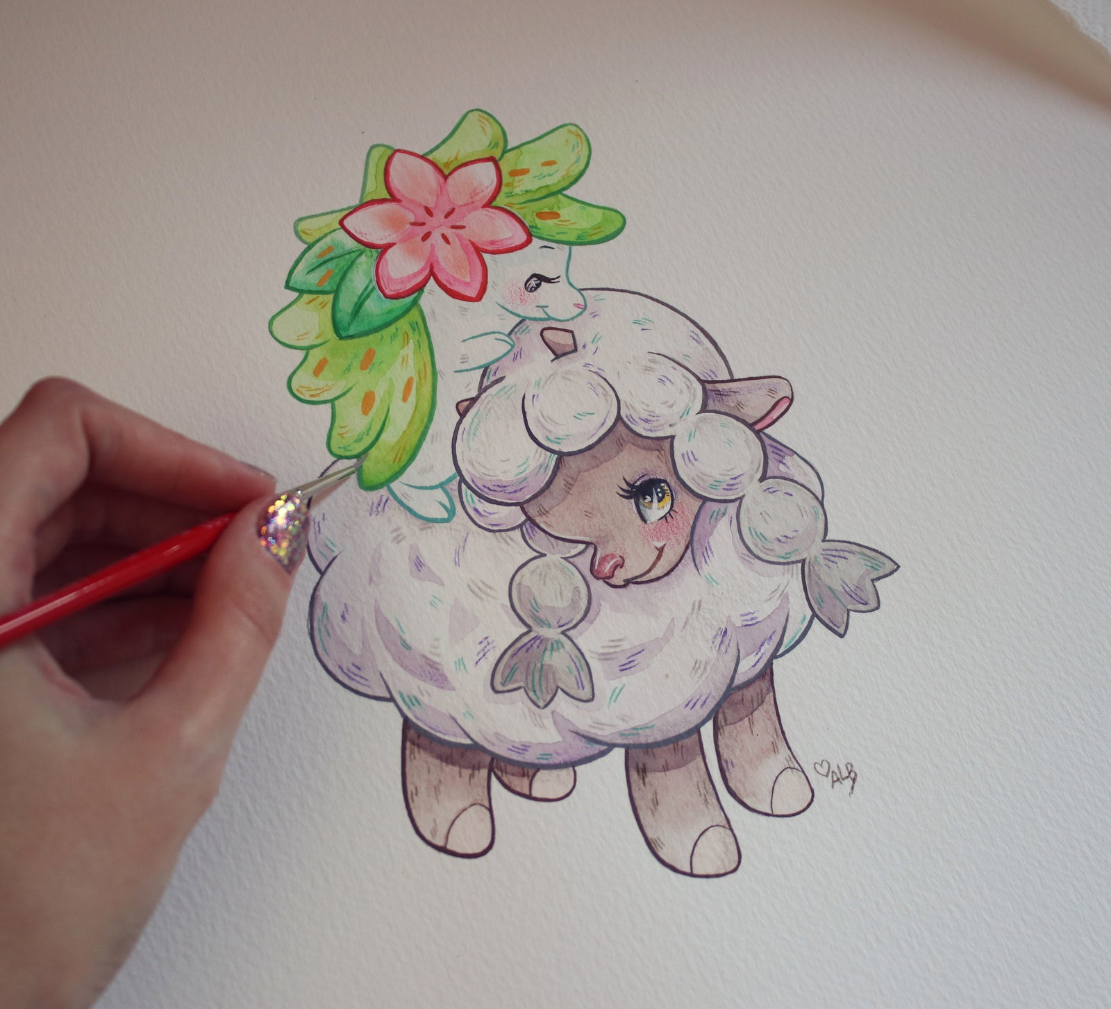 Original Painting: Little Golden Pokémon Wooloo
