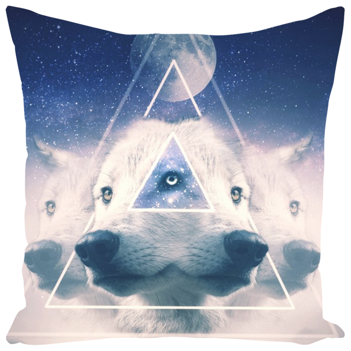 Third Eye Wolf Throw Pillow