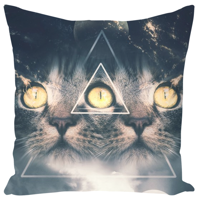 Third Eye Kitten Throw Pillow