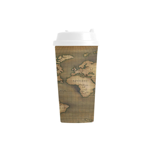 Old Map Double Wall Plastic Travel Mug