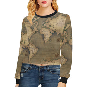 Old Map Cropped Pullover Sweatshirt
