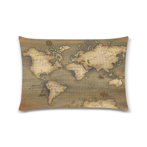 Old Map Zippered Pillowcase 16