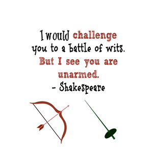 "Shakespeare ""I would challenge you to a battle of wits"" notebook"