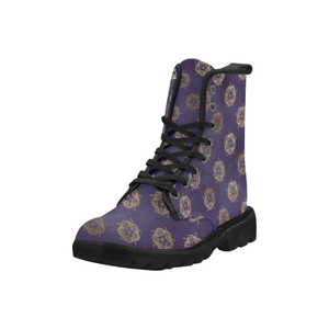 Purple Tudor Rose Martin Boots Martin Boots for Women (Black) (Model 1203H)