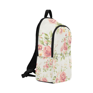 Cream vintage rose fabric backpack