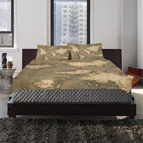 Old Map 3-Piece Bedding Set