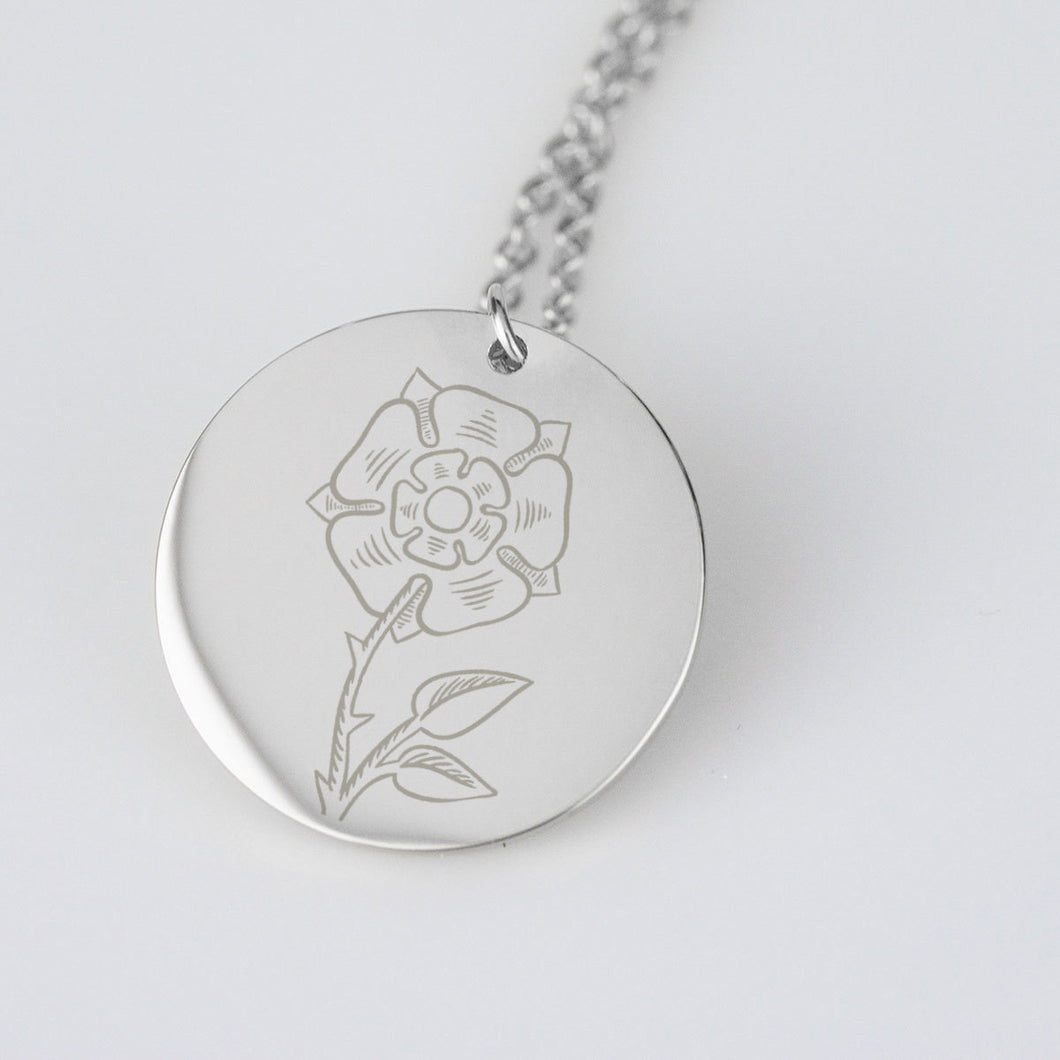 Tudor Rose Sterling Silver Necklace