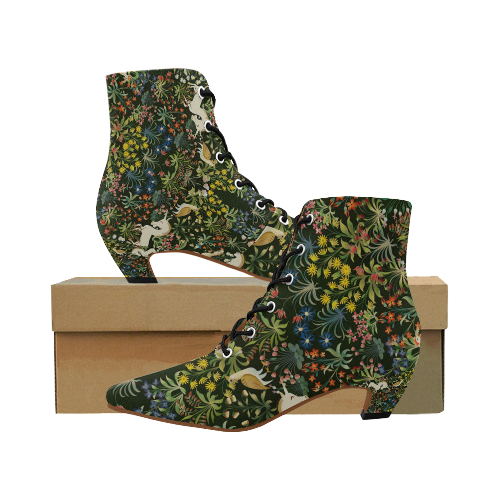 Medieval Unicorn Tapestry Women's Pointed Toe Low Heel Booties