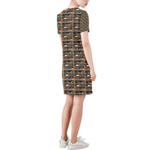 Cats+Books Short-Sleeve Round Neck A-Line Dress