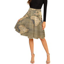 Old Map Pleated Midi Skirt