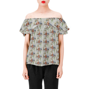 Anne of Cleves Top Women's Off Shoulder Blouse with Ruffle (Model T29)