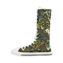 Medieval Unicorn Tapestry Canvas Long Boots For Women