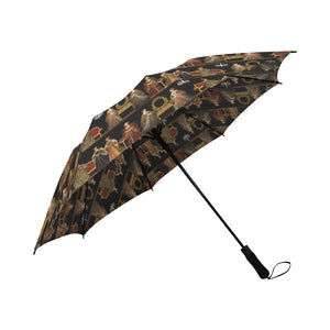 Six Wives Semi-Automatic Foldable Umbrella