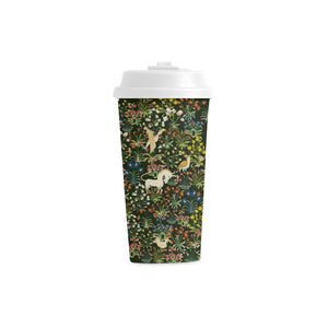 Medieval Unicorn Tapestry Double Wall Plastic Travel Mug
