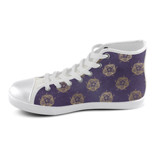 Purple Tudor Rose high top chuck taylors Women's High Top Canvas Shoes (Model 002)