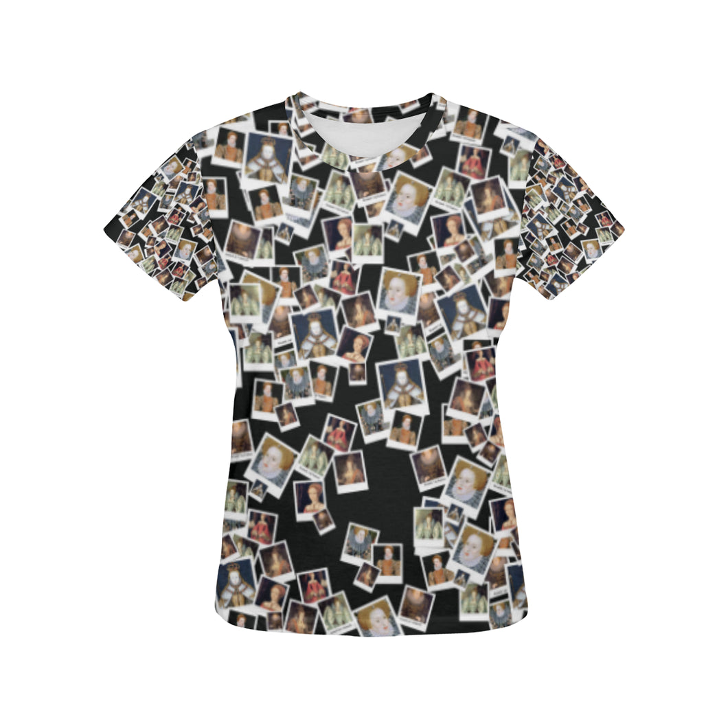 Elizabeth I Pattern Tshirt All Over Print T-Shirt for Women (USA Size) (Model T40)