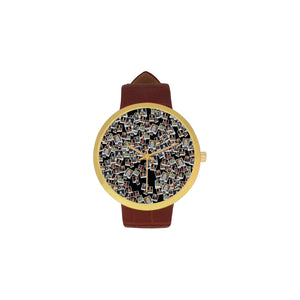 Elizabeth I Portrait Women's Golden Leather Strap Watch
