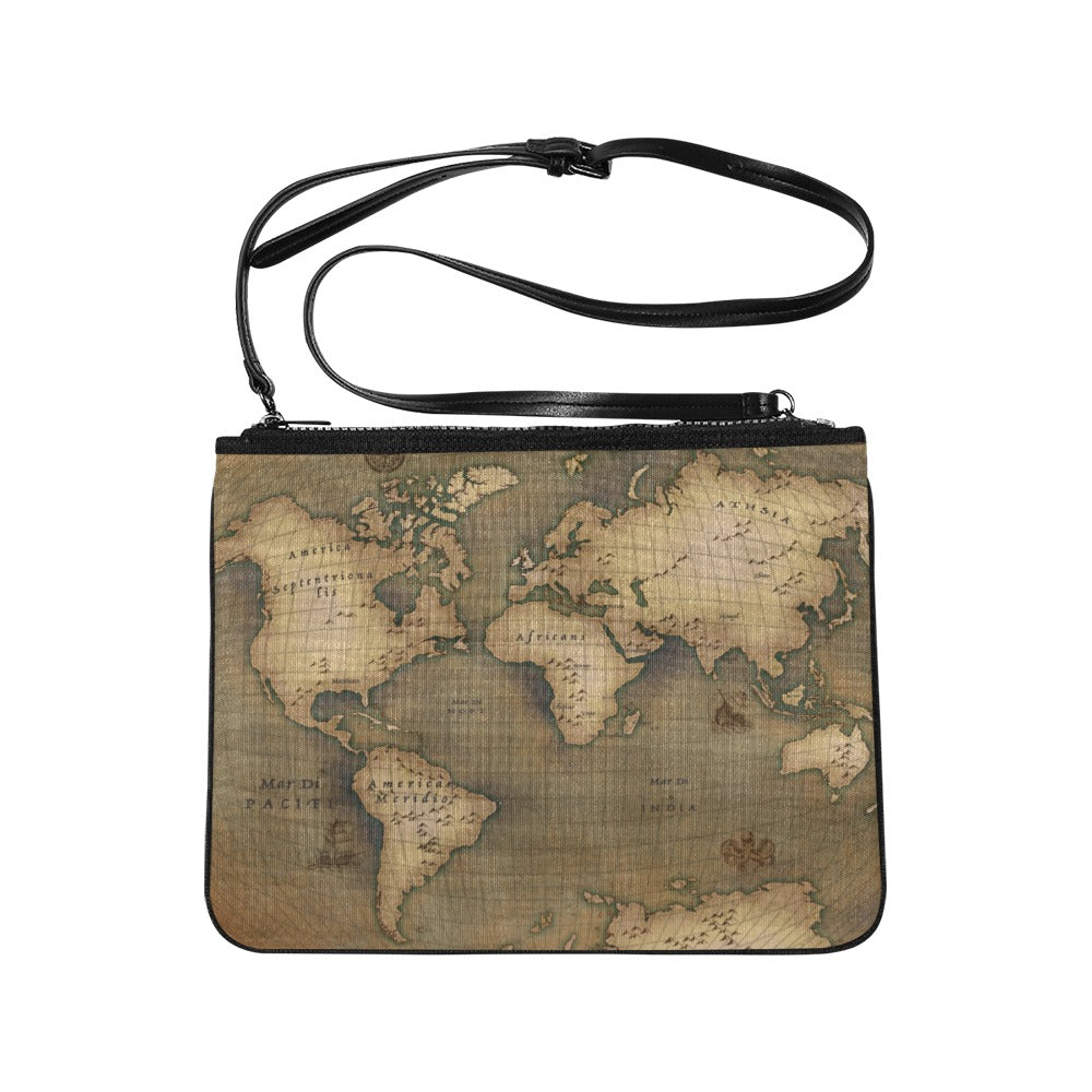 Old Map Slim Clutch Bag