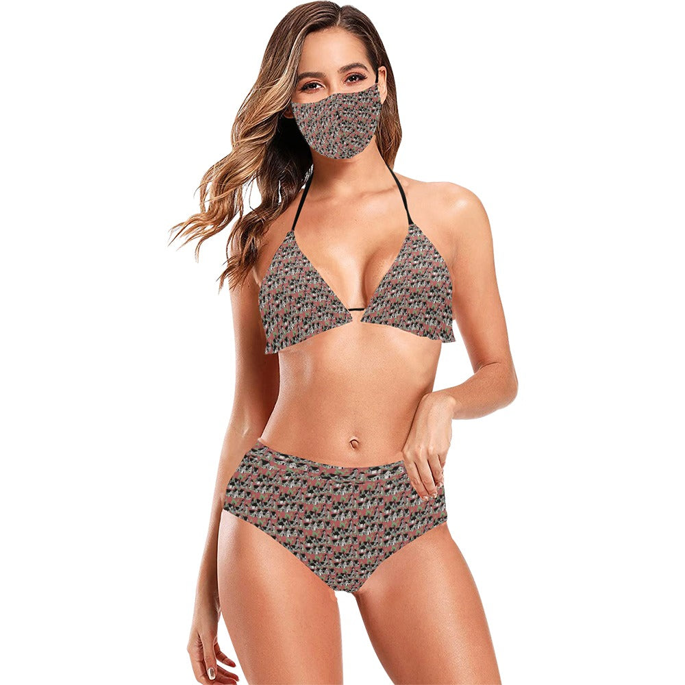 Medieval Village Bikini Set with Mask