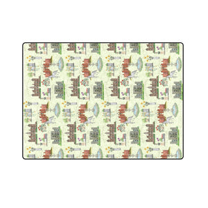 "Anne Boleyn's Homes and a Summer English Garden Blanket 58""x80"""