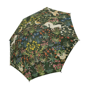 Medieval Unicorn Tapestery Pattern Semi-Automatic Foldable Umbrella