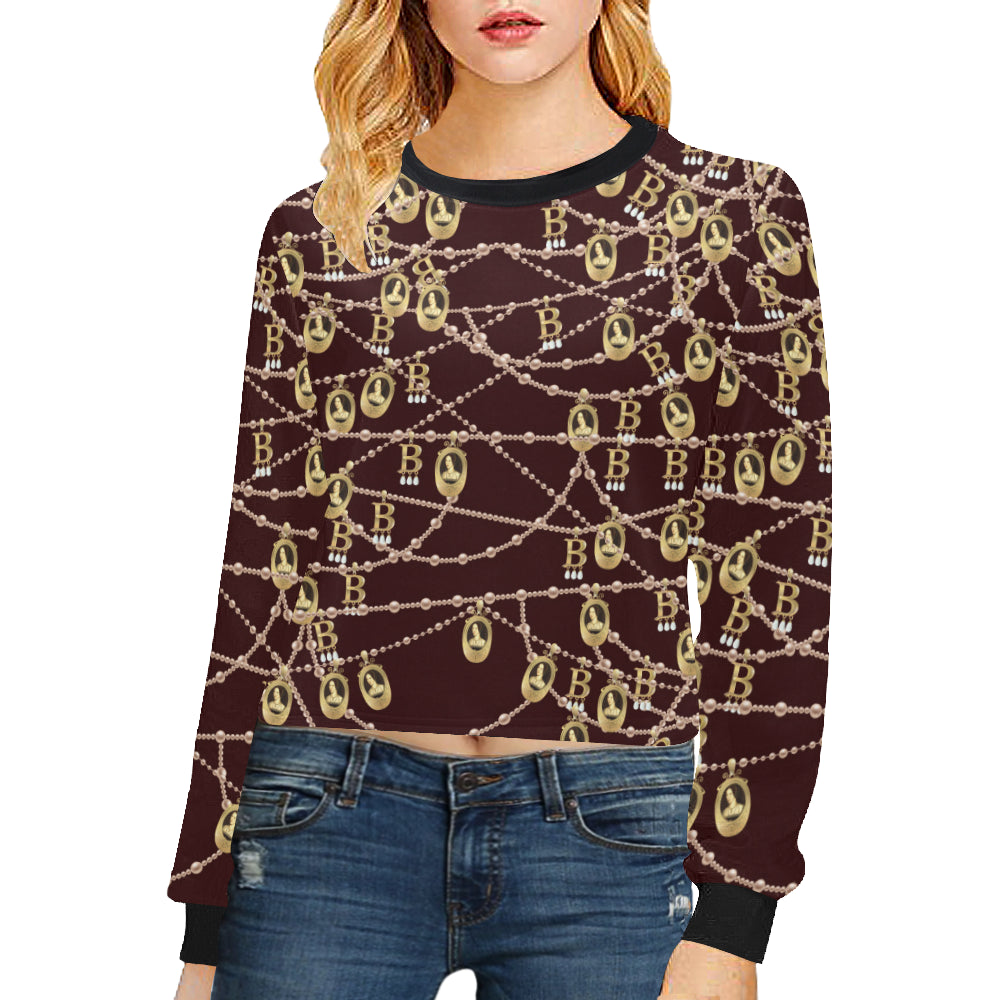 Anne Boleyn Crop Pullover Sweatshirts for Women (Model H20)