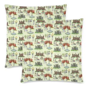 "Anne Boleyn's Homes and a Summer English Garden Custom Zippered Pillow Cases 18""x 18"" Set of 2"
