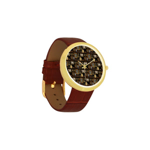 Henry VIII Women's Golden Leather Strap Watch(Model 212)