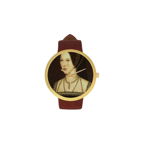 Anne Boleyn Women's Golden Leather Strap Watch